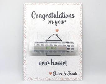 House Warming Gift - {Customizable housing warming card with Organic Lip Balm Gift}