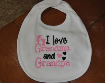 Embroidered Baby Bib - I Love Grandma & Grandpa - Girl
