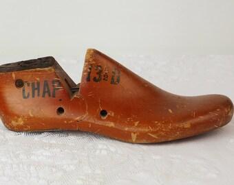 Wooden Shoe Last- Cobbler Tool- Antique Vintage Shoe Form- Empire Rochester 1952 Primitive- Rustic Decor- Sculptural Display- 13-1/2 D