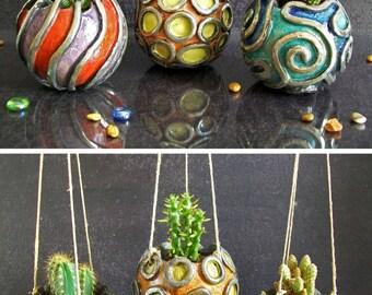 ceramic planter pot, succulent pot, mini planter pot, flower pot, hanging geometric planter pot, coastal decor, raku pottery pot, cactus pot