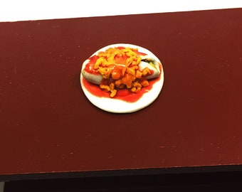 Miniature Plate of Chili Colorado Burrito