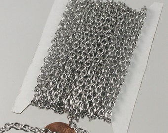 Stainless Steel chain, 10 ft of Surgical Stainless Steel Sturdy Cable chain - 4.9x3.8mm 1.0mm 18G Unsoldered Link