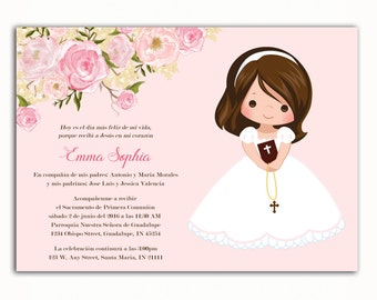 Invitacion Primera Comunión, Printable Floral First Communion Invitation, Girl Baptism Invitation, 1st Communion, English, Spanish, Español