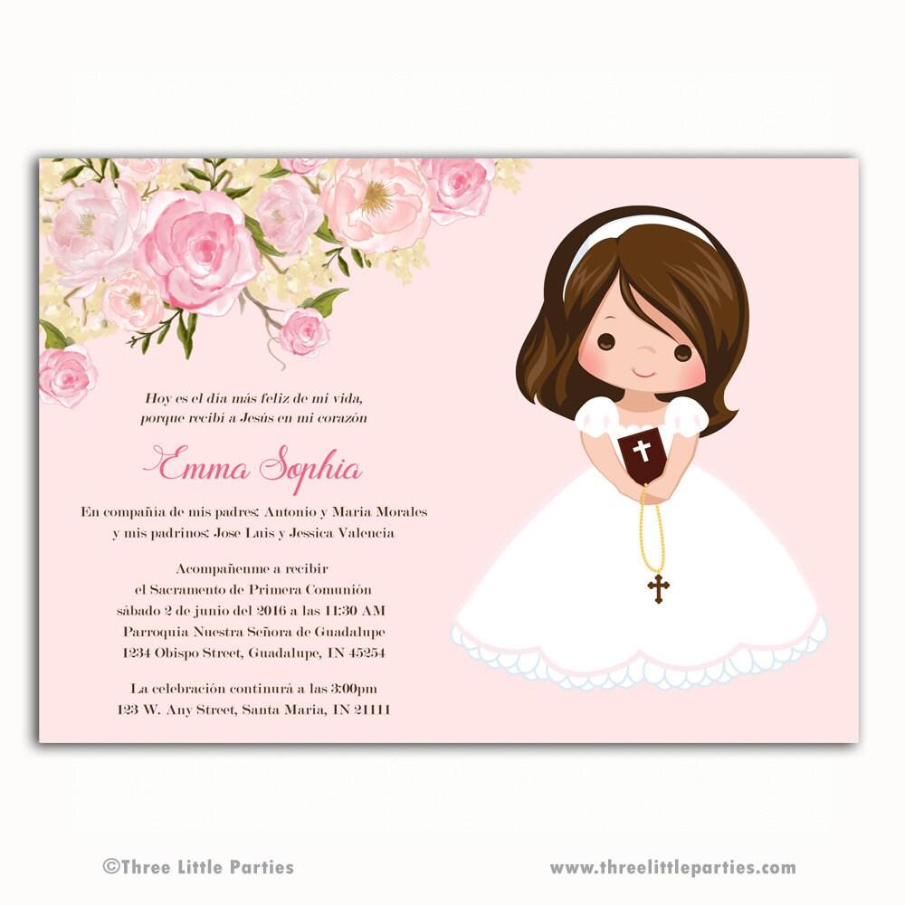 Invitacion Primera Comunión primero flores para imprimir