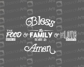 Bless the Food Family & Love // Great for signs, decor, kitchen, projects