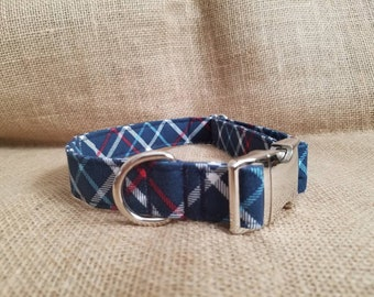 Navy Stripe Buckle Collar