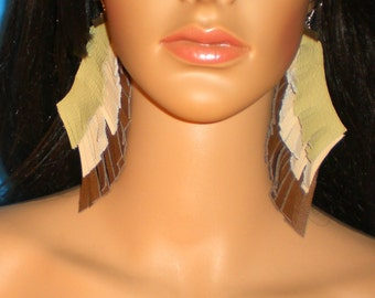 Leather Earrings, Leather Fringe Earrings, Brown Leather Earrings, Tan Leather  Fringe Earrings, Green Fringe Earrings