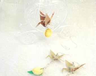 Parure sposa con gru origami e rosa chiara - Set gioielli ecologici di carta cerimonia donna - regalo matrimonio stile giapponese - collana
