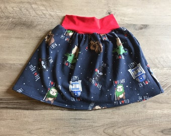 Star Wars skirt, baby girls skirt, toddler skirt, galactic love notes, circle skirt, birthday skirt