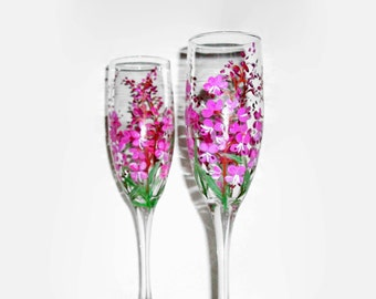 Fireweed Flower Hand Painted Champagne Flutes Set of 2 / 6 oz. Toasting Flutes, Wedding,Anniversary,Birthday