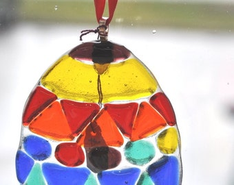 Handmade fused glass egg suncatcher