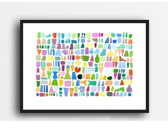 Beach finds colorful watercolor painting, abstract watercolor print, summer outdoors