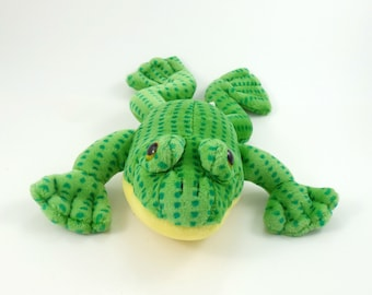 Vintage 80s Dakin Plush Green Spotted Frog, Frog Lover Gift, Stuffed Frog Toy Frog Stuffed Animal Jumping Frog Toad Plush Toad Gift