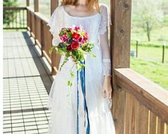 Vintage off shoulder white lace boho chic bridal dress wedding gown  SALE