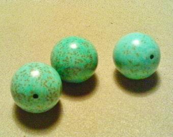 Chunky turquoise beads;  jumbo Howlite 'turquoise', round beads, 20mm, 2pcs/3.40.