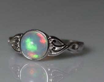 CLASSIC RAINBOW natural fire opal 7 mm cabochon sterling silver filigree ring, natural fire opal, fire opal ring, genuine opal ring