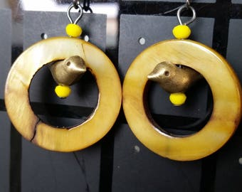 mother of Pearl and bird earrings
