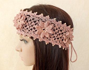 Pink Rose Headband OOAK Irish Lace 3D Crochet Dreadlock Head Wrap Boho Wood Beaded Women Ivory Wedding Bridal Cotton Hair Snood