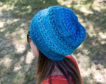 Blue Slouchy Knit Hat - Colorful Blue Vegan Hat - Boho Hat - Hipster Hat - Hippie Hat Womens Tam - Mens Beanie - Gift For Her