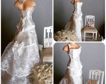 Handmade elegant wedding dress in 1:12 scale