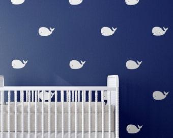 Whale Nursery Wall Art Decals   Nursery Decor, Nautical Nursery Wall Decal,  Nautical Decor, Whale Art, Nautical Wall Art, Baby Shower Gift