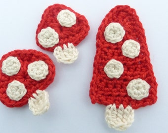 Crochet, Crochet applique, 3 crochet toadstools,  cardmaking, scrapbooking, appliques, handmade, sew on patches. embellishments
