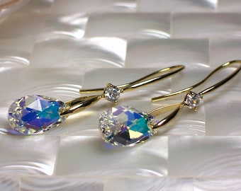 Swarovski Crystal Earrings, Dangle Earrings, Gold Earrings, Fashion Jewelry, Jewellery, Long Earrings