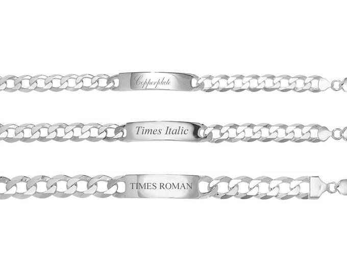 "Men's Personalised 925 Sterling Silver 8"" ID Curb Bracelet 8mm 10mm 12mm"