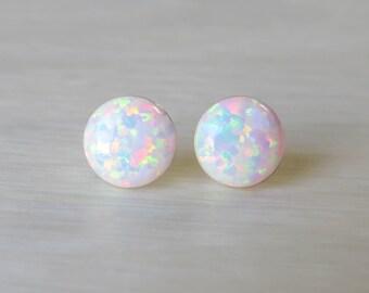 Opal Earrings, Opal Stud Earrings, White Opal Stud Earrings, Blue Opal Stud Earrings, Blue Opal Earrings ,Stud Earrings ,Opal Stud Earrings.