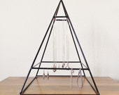 Tall Welded Jewelry Display Pyramid in Gloss Black