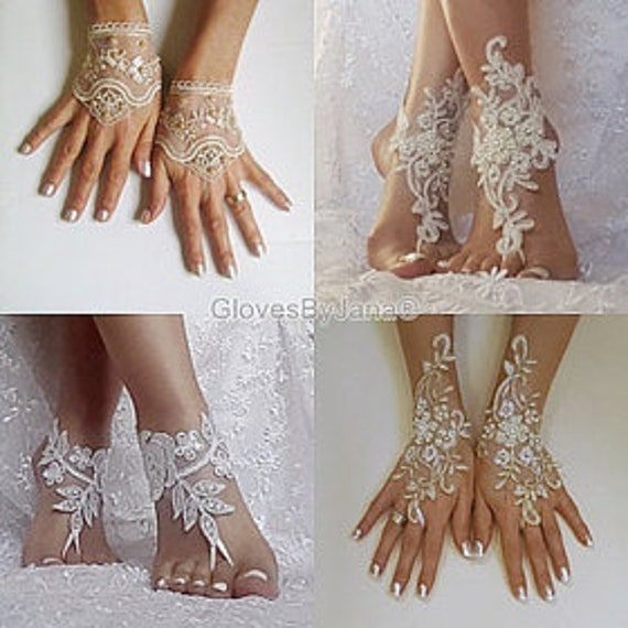 Custom order champagne gold beaded lace barefoot sandals