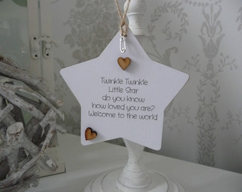 Twinkle twinkle little star, handmade welcome to the world wooden star gift