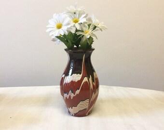 Vintage pottery vase, vintage vase, brown pottery vase, brown vase, flower vase, ceramic vase, home decor, handmade vase, handmade pottery