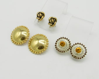 Vintage Earrings - Three Pairs of Non Pierced