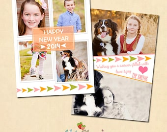 INSTANT DOWNLOAD 5x7 New Year Card Photoshop template - CA316