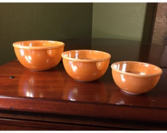 Fire King Lusterware Mixing Bowls • Peach Lusterware Nesting Bowls