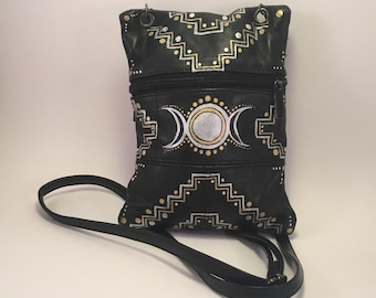 "Hand-Painted ""Triple Goddess"" Leather Cross-Body Bag"