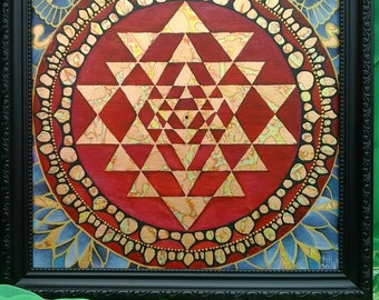 Sri Yantra Mandala - Oil on Wood - framed