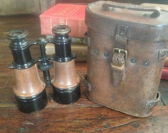 1918 WWI Binoculars Leather Travel Case Antique French English