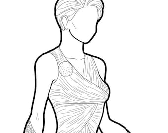Fashion design colouring page