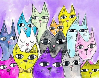 Purple Haze by Stephanie Hart, Archival print Watercolor Illustration 8x10, Cat Art