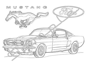 1969 FORD MUSTANG, Adult Coloring Page, Printable Coloring Page, Coloring Page for Adults, Digital Instant Download 1 page