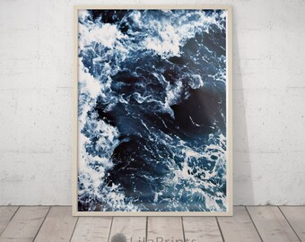 Ocean Photography, Dark Blue Wall Art, Sea Waves Printable, Navy Ocean Decor,  Bathroom Print, Minimalist Photography, Sea Water, Water Print