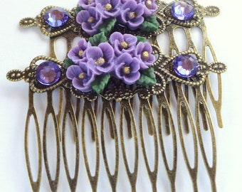 Purple and Gold Posey Hair Combs, Swarovski Crystals, Brass Combs, Hair Jewelry, Prom, Wedding Accessories, Holiday Hair, Flower Accessories