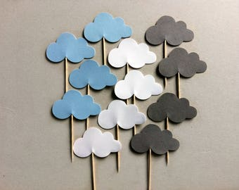 Cloud Cupcake Toppers / Rainy Day Baby Shower / Gender Reveal / Blue Baby Shower / Food Picks / Wish Upon A Star