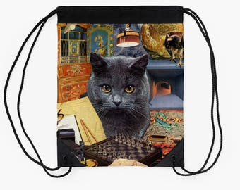 Scorpio Drawstring Tote Bag - Astrology Zodiac Collage Art - October November Birthday Gift for the Cat Lover