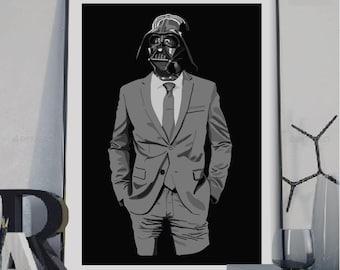 Darth Vader suit, Darth Vader poster, Geek art, Gift for Star wars fan, Star wars fan art, Dorm art,