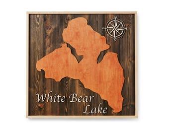 White Bear Lake Wood Map Sign