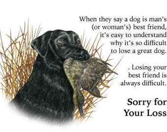 Sympathy Card for the Loss of a Dog, Pet, Puppy Black Lab