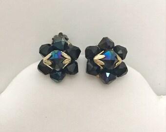 Vintage Hong Kong Navy Blue Purple Rhinestone Costume Jewelry Clip on Earrings